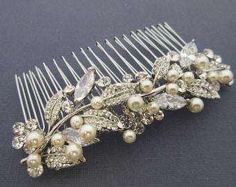 Vintage inspired Bridal hair comb Bohemian Bridal headpiece Boho Wedding hair comb Bridal hair piece Wedding hair jewelry Bridal comb Pearl