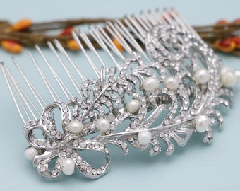 bridal comb floral Wedding hair accessories Pearl hair comb Bridal hair comb Crystal hair pins Wedding comb Vintage style Bridal comb Boho