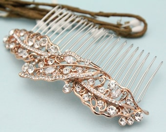 wedding hair accessories rose gold Wedding hair comb Crystal hair piece Bridal hair comb Rhinestone hair comb Vintage style Wedding comb