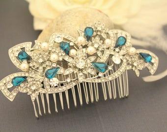 wedding hair comb blue Wedding hair accessories Pearl hair comb Bridal hair comb Navy Wedding hair piece Bridal head comb Rhinestone hairpin