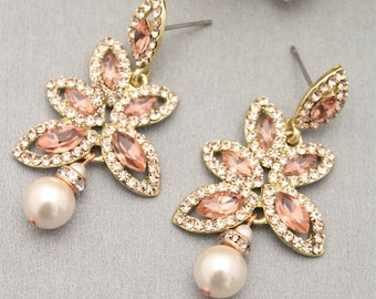 Bridesmaid Earrings,Rose Gold Earrings,Clear Crystal Earrings,Wedding Earrings,Bridal Earrings,Rose Gold Bridal Earring,Pearl earring bridal