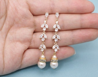 Long Pearl Drop Bridal Earrings,Art Deco Wedding Earrings for Brides,Swarovski Earrings,Crystal and Pearl Earrings,Pear Drop Earrings Prom