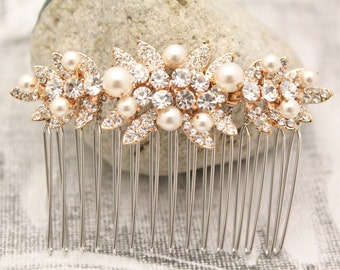 Rose Gold Bridal Comb,Rose Gold Wedding headpiece,Hair clip,Wedding hair comb,Swarovski Pearls,Wedding jewelry,Bridesmaid hair comb,Crystal