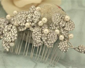 crystal hair comb wedding hair piece pearl hair accessories Bridal hair comb Rhinestone hair comb Crystal Wedding comb Vintage style Bridal