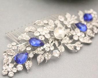 Sapphire Blue Crystal Rhinestone Barrette,Wedding Crystal Hair Clip,Hair Barette,Wedding Accessory,Brynlee Blue Barrette Clip,Bridal comb