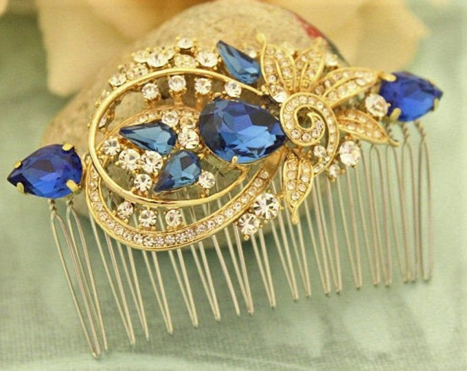 Featured listing image: Bridal headpiece gold floral Wedding hair comb blue Bridal hair accessories Gold Bridal hair comb Crystal hair comb Wedding comb Rhinestone