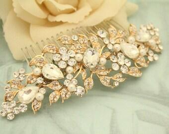 wedding hair comb vintage style Wedding hair accessories Gold hair comb Crystal Bridal hair comb Rhinestone hair pins Wedding hair jewelry