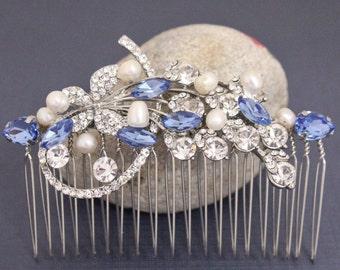 Bridal comb Wedding Hair Accessories,Vintage Style Flower and Leaf Rhinestone Bridal Hair Comb,Blue Swarovski Crystal and Pearl Wedding Comb