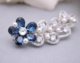 bridal hair accessories for updo Wedding hair comb Navy Bridal hair comb Blue Wedding comb Vintage style Bridal comb Pearl hair comb Prom