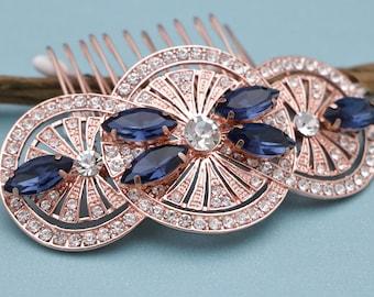 wedding hair comb rose gold wedding hair accessories braid wedding comb gold bridal hair comb blue Wedding headpiece Bridal comb navy Boho