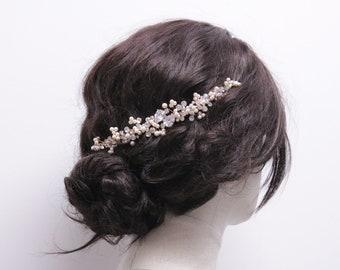 Bridal hair accessories boho hair piece for Wedding hair vine Pearl hair piece Rose gold Bridal headpiece Silver Wedding headband,Bridal