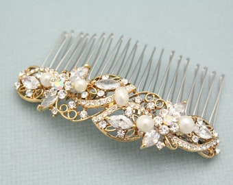 Wedding hair comb Vintage style Wedding hair piece Pearl hair comb Bridal hair comb Wedding headpiece Bridal head comb Gold hair comb Boho