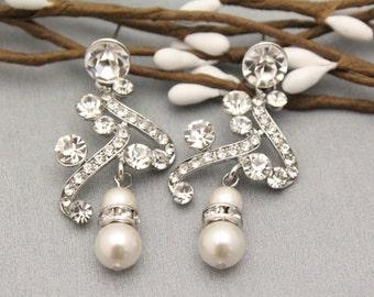wedding earrings Swarovski pearl earrings bridesmaid earrings bridal earrings chandelier earring wedding jewelry sets for brides Rhinestone
