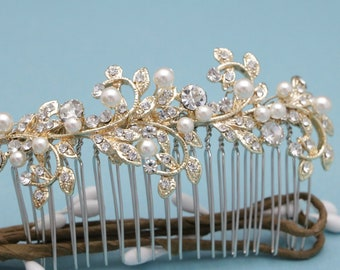 bridal hairpiece floral wedding hair comb gold bridal hair accessories for updo bridal hair comb crystal wedding hair jewelry Vintage style