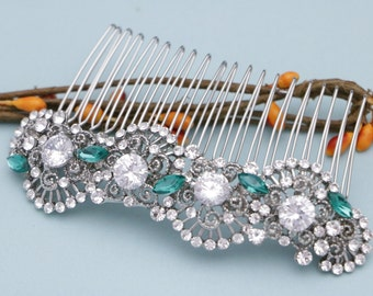 Wedding hair comb blue wedding hair accessories silver wedding comb for bride Wedding head comb Bridal hair piece Crystal Bridal hair comb