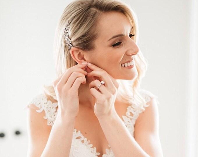 Featured listing image: Wedding hair pieces leaf Bridal hair comb crystal Wedding hair accessories silver Bridal comb hairpiece Wedding hair comb rhinestone Prom