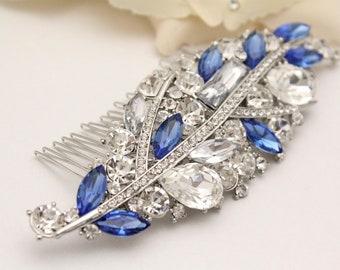 Blue Bridal Hair Comb,Royal Blue Wedding Hairpiece,Something Blue Bridal Hair Accessory,Sapphire Blue Rhinestone Hair Clip,Blue Comb,Crystal