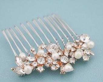 bridal hair comb pearl hair clip Vintage style Wedding comb Silver Wedding hair comb Gold hair comb Crystal hair comb Rose gold hair piece