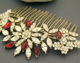 Art Deco Bridal Hair Comb,Vintage Style Bridal Headpiece,Red crystal Wedding Hair Jewelry,Swarovski Hair Comb,Crystal Wedding Headpiece