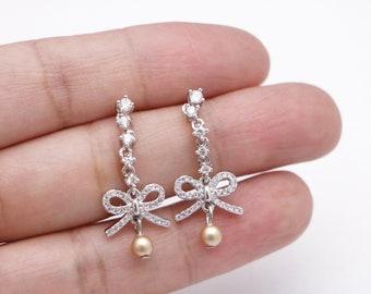bridal earrings studs pearl Wedding Earrings,Chandelier CZ Earrings,Drop Earrings, CZ Wedding Earrings,Bridesmaid earrings,Prom earring,Prom