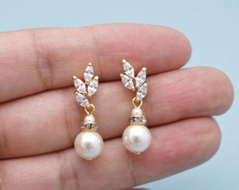Bridal Pearl Earrings Wedding Jewelry Bridal Earrings Swarovski Pearls Cubic Zirconia Wedding Earrings Bridesmaid Gift Wedding jewelry set
