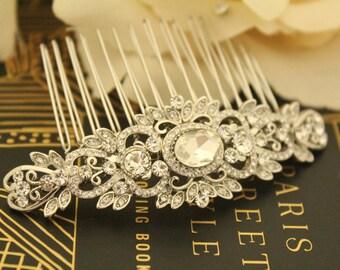 Crystal Bridal Hair Comb,Silver Hair Comb for Bride,Bridal Hair Jewelry,Rhinestone Hair Comb,Wedding hair comb,Bridal hair accessories,Prom
