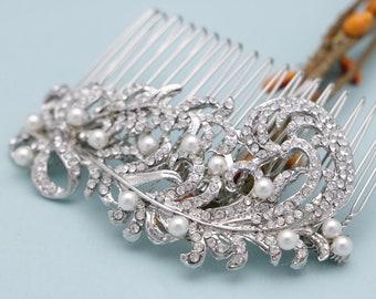 wedding hair comb pearl and crystal wedding hair accessories leaf wedding comb for hair wedding hair piece vine bridal hair comb pearl comb