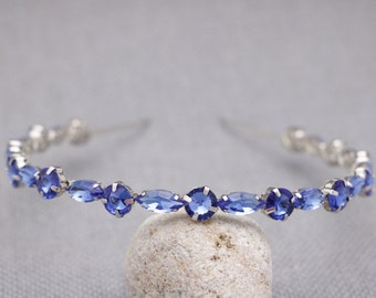 wedding headband crystal headband Wedding hair jewelry Blue Bridal headband Rhinestone headband Bridal headband Wedding tiara crown Bridal