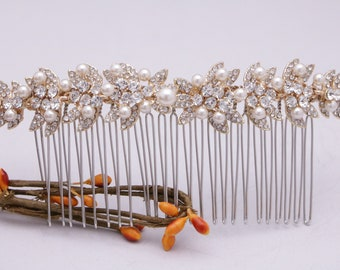 bridal hair comb gold wedding hair piece rose gold bridal comb boho Large Wedding hair comb Pearl hair comb Bridal head comb Wedding comb