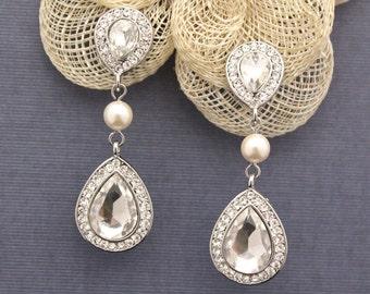 Rhinestone earrings boho,Silver Bridal Earrings Pearl,Wedding Earrings for brides,Crystal Chandelier Bridal Earrings,Crystal Bridal Jewelry