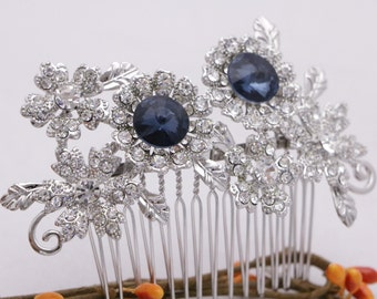bridal hair comb blue bridal hair accessories silver bridal headpiece crystal bridal combs for side wedding hair comb pearl and crystal comb