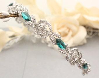 wedding headband crystal headband Blue Wedding hair band Navy Bridal headband Green Wedding tiara Bridal hair jewelry Rhinestone headband