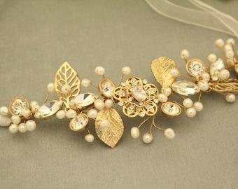 Bridal Headband,Bridal or Silver Hair Vine,Gold hair vine,Bridal wreath,Bridal crown,Leaf hair vine,Flower hair vine,Hair wreath Bridal comb