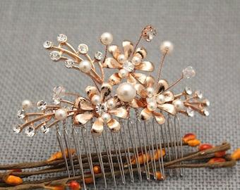 Rose Gold hair comb Bridal hair comb Rose gold headpiece Crystal hair comb Swarovski hair comb Wedding headpiece Hair accessories,Boho hair