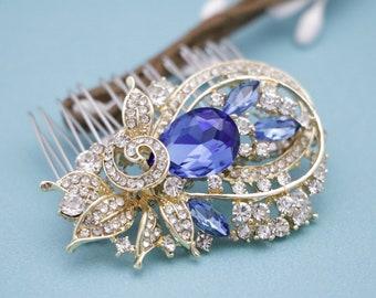 wedding hair comb floral Wedding hair comb Blue Bridesmaid hair comb Wedding headpiece Bridal hair jewelry Bridal comb Rhinestone hair comb