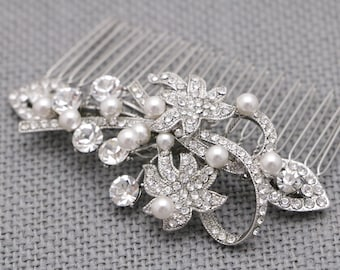 bridal hair comb vintage Style bridal comb hairpiece pearl hair comb Crystal Wedding hair comb Rhinestone hair comb Prom hair piece Wedding