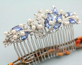 Bridal hair comb,Pearl hair barrette,Wedding hair jewelry,Bridal hair accessories,Wedding hair comb Sapphire,Boho hair vine,Prom hair comb