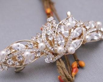 wedding hair barrette Silver,Gold,Rose gold Wedding hair comb Swarovski pearl Bridal comb Wedding hair clip Bridal hair barrette Crystal pin