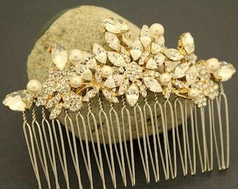 wedding hair piece gold wedding hair comb leaf Pearl hair accessory Wedding comb Gold Bridal hair comb Crystal Bridal comb Wedding hair clip