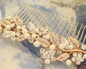 wedding comb floral Wedding hair accessories Silver,Gold,Rose gold Wedding hair comb Crystal hair piece Wedding hair clip Bridal hair comb