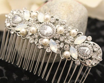 White opal bridal hair comb,Bridal Headpiece Wedding Headpiece Decorative Hair,Wedding comb for brides Pearl hair comb,Bridal hair accessory