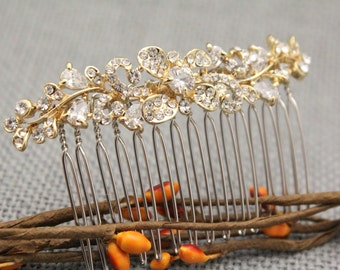 Wedding hair comb,Gold hair comb,Bridesmaid hair comb,Bridal hair comb,Rhinestone hair comb,Crystal hair comb,Boho hair comb,Prom hair comb