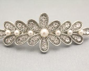 wedding hair comb pearl hair barrette Wedding hair accessories Floral Wedding comb Crystal hair pins Bridal hair comb Rhinestone hair pins