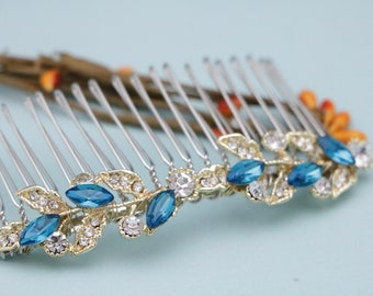 wedding hair accessories sapphire wedding hair comb blue wedding comb gold bridal hair comb crystal Bridal comb Wedding hair jewelry Blue