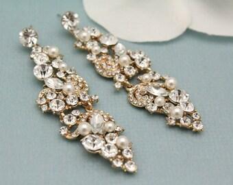Bridal earrings blue,Wedding earrings Pearl,bridesmaid earrings gift,Wedding jewelry Gold,Chandelier earrings,Wedding jewelry for morther