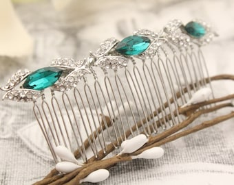 bridal hair comb blue wedding hair accessories and veils wedding hair comb silver hair piece Rhinestone hair comb Crystal hair comb Bridal