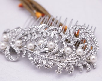 wedding hair comb pearl Wedding hair piece Wedding comb Crystal hair pins Wedding hair accessories Bridal hair comb Vintage style Hair comb