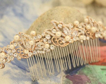 bridal hair comb rose gold hair comb pearl Wedding hair comb Crystal hair comb Rhinestone Wedding comb Bridal hair accessories bridal comb