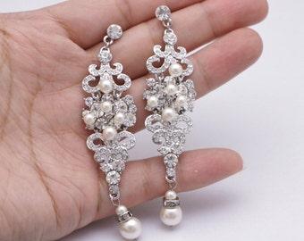 Crystal Bridal Earrings,Wedding earrings,Long Bridal earrings,Bridesmaids,Wedding Jewelry,Long Crystal Stud Earrings,Swarovski pearl earring