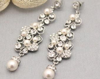 gift, Crystal Bridal Earrings,Deco Earrings,Pearl Wedding Earrings, Earrings,Chandelier Earrings,Gatsby Earrings,Bridesmaid earrings